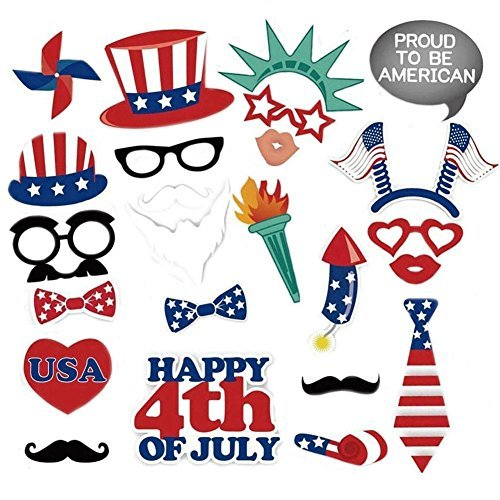 GoaPly 24 Ct 4th of July Photo Booth Props for Independence Day Patriotic Party Supplies Decorations