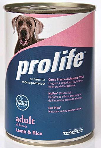 6 lattine da 400 gr Prolife Adult Dog con Agnello e Riso Umido