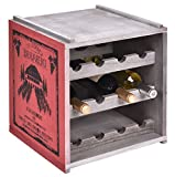 Wooden Wine Rack 3 Tiers 12 Bottles Free Standing Vertical Design Display Shelves Storage Cabinet Home Kitchen Bar Décor Surface Painted Paulownia Construction