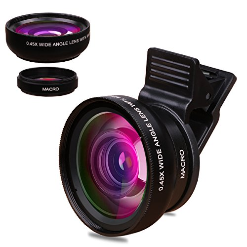 TUPELO 0.45X Wide Angle Lens & 12.5X Micro Lens Kit Clip on 180 Degree Fisheye Cell Phone Camera Lens for iPhone 7, 6s, 6 Samsung