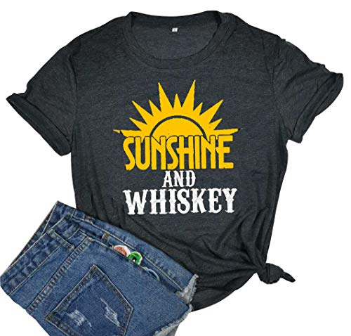 Sunshine and Whiskey T Shirt Women Funny Summer Drinking Drunk Sunset Tops Tee (Large, Black) (Drunk T-shirt Irish)