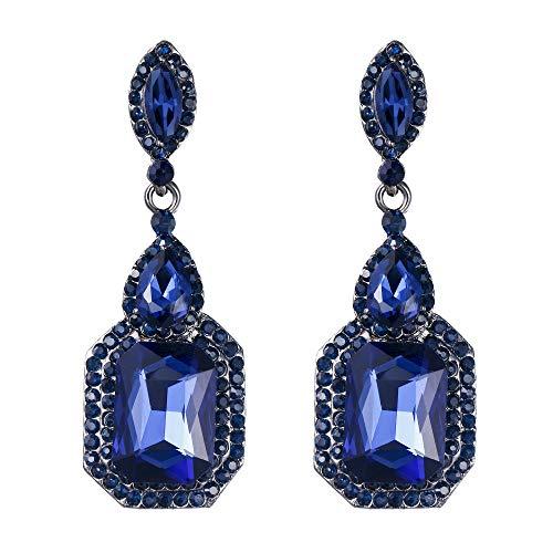 BriLove Wedding Bridal Dangle Earrings for Women Emerald Cut Crystal Infinity Figure 8 Chandelier Earrings Navy Blue Sapphire Color Black-Silver-Tone ()