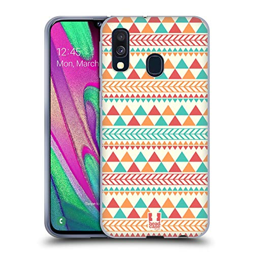 Head Case Designs Light Red and Orange Aztec Patterns S2 Soft Gel Case Compatible for Samsung Galaxy A40 (2019) (Galaxy Samsung Aztec S2 Case)