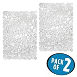 DELUXE PROTECTIVE SINK MAT CLEAR FLOWER DESIGN/wow/large size/ 2 pack/ with FREE BONUS SINK STRAINER