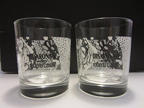Set of 4 Disaronno Italian Liqueur Fashion Designer Roberto Cavalli Exotic Print Lowball Rocks Glasses