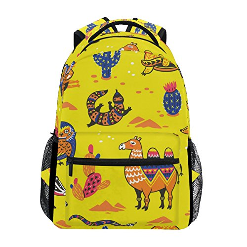 U LIFE Backpack School Bags Laptop Casual Bag for Boys Girls Kids Men Women Cute Animals Fox Camel Snake Forest