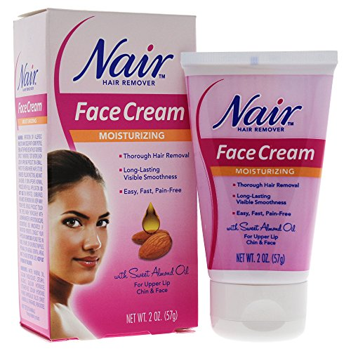 Nair Moisturizing Face Cream for Upper Lip Chin And Face Hair Removal, 2 Ounce