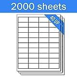 OfficeSmartLabels Rectangular 1 x 2 Address / Mailing Labels for Laser & Inkjet Printers, 1 x 2 Inch, 40 per sheet, White, 80000 Labels, 2000 Sheets
