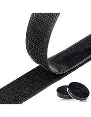 Klittenband zelfklevend 8M extra sterk dubbelzijdig klevend | klittenbandsluiting | zelfklevend kleefpad, 20 mm breed, zwart