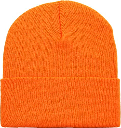 SKIHAT-Long NORG Thick Beanie Skully Slouchy & Cuff Winter Hat Made in USA Orange]()