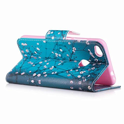 Yiizy Huawei P8 Lite (2017) / Honor 8 Lite / Nova Lite Custodia Cover, Fiore Plum Design Sottile Flip Portafoglio PU Pelle Cuoio Copertura Shell Case Slot Schede Cavalletto Stile Libro Bumper Protetti