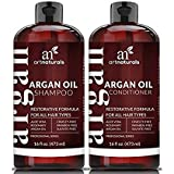 Art Naturals Organic Moroccan Argan Oil Shampoo And Conditioner Set 2 X 16 Oz Sulfate Free Volumizing Moisturizing Gentle On Curly Color Treated HairFor Men Women Infused With Keratin