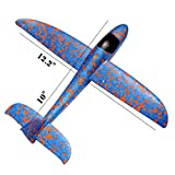 Foam throwing glider air plane inertia aircraft toy hand launch airplane model outdoor sports flying toy for kids children boy girl as gift,by MIMIDOU . (blue1, M)