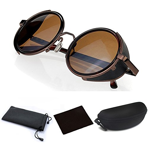 (JJLHIF Hot Mens Womens Steampunk Retro Style 50s Brown Frame Round Mirror Lens Glasses Blinder Sunglasses for Steampunk Costume Outfit Cosplay Themed Wedding Birthday)