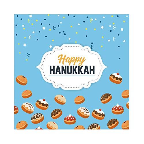 (CSFOTO 7x7ft Happy Hanukkah Backdrop Jewish Chanukah Background for Photography Bread Cake Dessert Jewish Traditional Festival Celebration Kids Adults Portraits Photo Wallpaper)