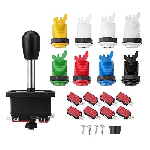 Arcade Joystick, Arcade Games DIY Parts Accessories Kit with 1 Arcade Joystick + 8 Arcade Buttons (1P / 2P Buttons…