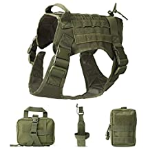 JASGOOD Tactical Dog Vest Military Harness with Detachable Molle Pouches/Patches Outdoor Training Handle Service Dog Vest
