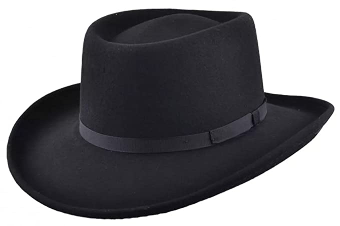 9b139b39062efb MAZ Crushable Wool Felt Gambler Cowboy Hat - Black: Amazon.co.uk ...