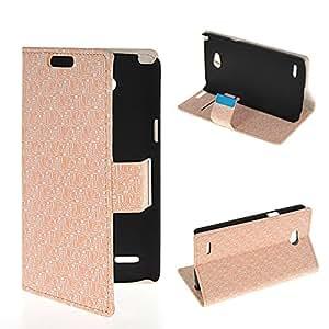 HAINENT [Beige] Maze Pattern Multi-Function Flip Wallet PU de Cuero Funda Carcasa Soporte Stand con Tarjeta de Crédito Slots For LG L80 Dual