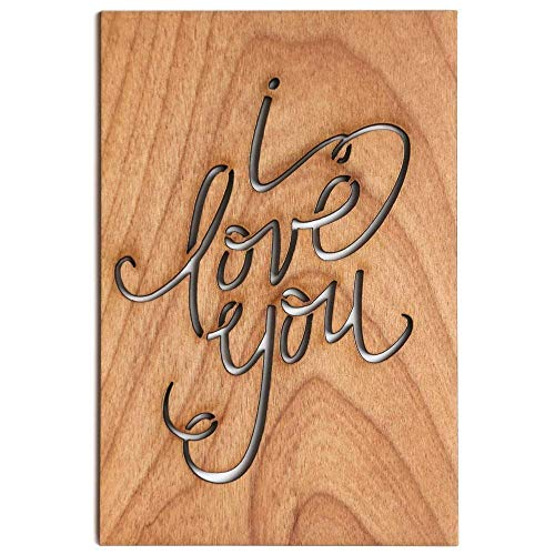 I Love You Calligraphy Laser Cut Wood Card (Love / 5 Year Anniversary/Boyfriend or Girlfriend/Valentine's Day) (Card Valentines Day Love)
