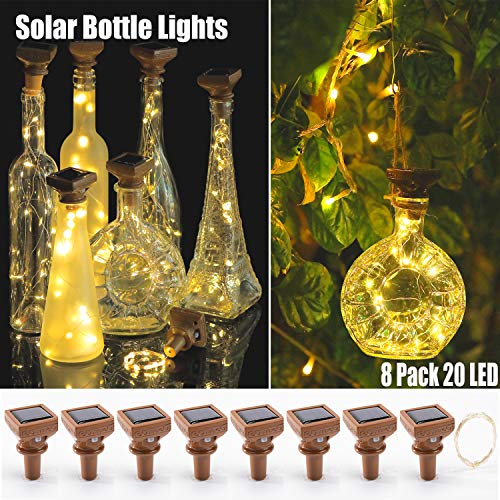 KZOBYD 8 Pack Solar Powered Wine Bottle Lights 20 LED Waterproof Bottle Lights Fairy Cork String Craft Lights for Wine Bottles Garden Patio Outdoor Tabletop Decor (Solar Powered, Warm White)
