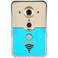KKmoon WiFi Enabled Video Doorbell, 135° Wide Viewing Angle + 3 Meters Night Vision, Compatible with iOS & Android Cellphones P2P Wireless Remote Phone Visual Doorbell Intercom