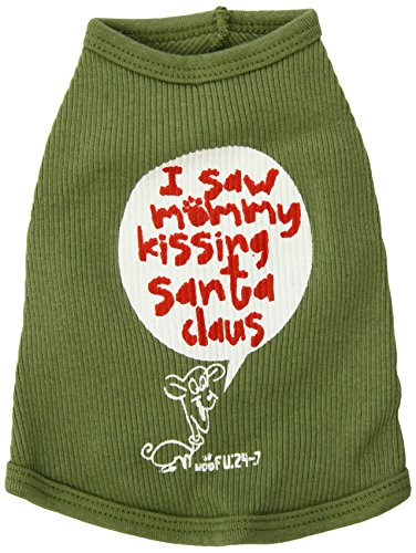 Santa Dog Tank - Ruff Ruff and Meow Dog Tank Top, Kissing Santa Claus, Green, Small