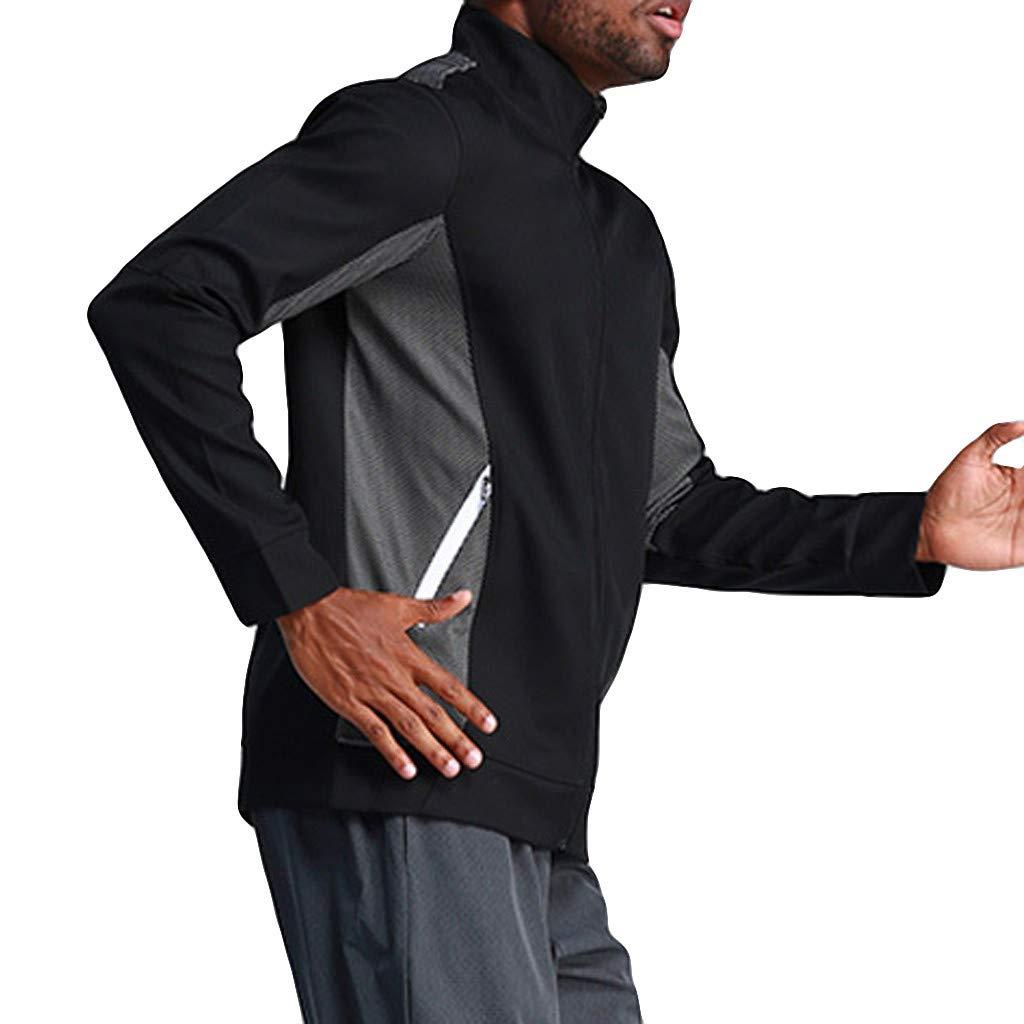 Mens Sport Coats Winter Jiayit Mens Casual Zipper Patchwork Standing Lead Running Outdoor Training Fitness Coat