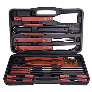 cymas Juego de herramientas barbacoa, barbacoa herramienta pinzas de acero inoxidable barbacoa cepillo Kit con funda (Juego de 18)