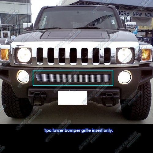 Hummer Billet Grille (APS C65246V Polished Aluminum Billet Grille Bolt Over for select Hummer H3 Models)