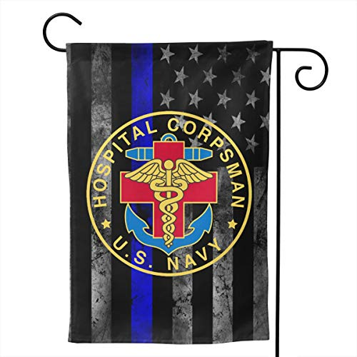 Ayok US Navy Hospital Corpsman Home Garden Flag 12.5 x 18 Inch House Double Sided Striped 28 x 40 Inch