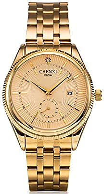 Fanmis Men's Luxury Analog Quartz Gold Watch Business Stainless Steel Band Dress Wrist Watch Classic Calendar Date Window 3ATM Water Resistant from Fanmis
