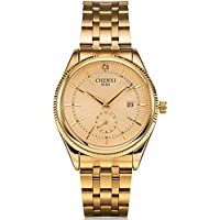Fanmis Men's Luxury Analog Quartz Gold Watch Business Stainless Steel Band Dress Wrist Watch Classic Calendar...