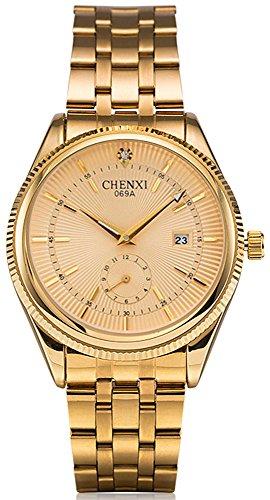 Fanmis Men's Luxury Analog Quartz Gold Watch Business Stainless Steel Band Dress Wrist Watch Classic Calendar Date Window 3ATM Water Resistant