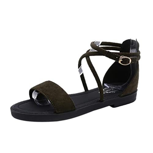 Sandalen Damen Schnalle Schuhe Sommer Sandalen Zehentrenner Strandschuhe Flache Mode Schuhe PU Leder Flach Boden...