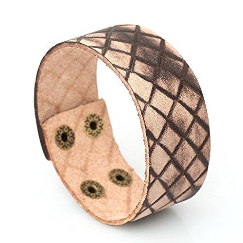 MORE FUN Vintage Style Brand Decorative Pattern Leather Bracelet Gothic Handmade Leather Bangle (Studded Wristband Single)
