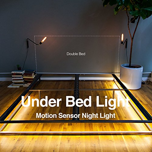 Motion Activated Under Bed Light BBOUNDER Motion Sensor Led Strip Light Bedside Night Light Illumination with Automatic Shut Off Timer for Cabinets Under Stairs Bedroom(Warm Soft Glow) (double bed)