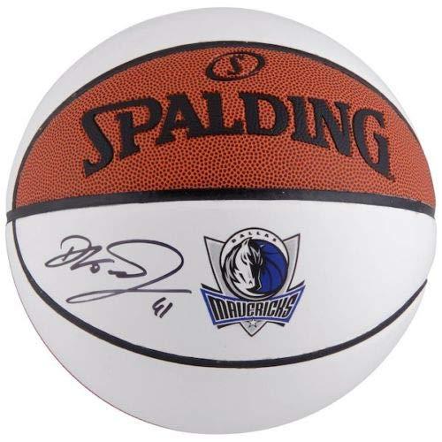 DIRK NOWITZKI Autographed Dallas Mavericks White Panel Basketball FANATICS (Basketball Shoe Nba Mavericks)