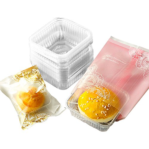 50g/80g/100g Moon Cake Plastic Bags Hot Seal Cookie Candy Bag With Trays 100 Sets