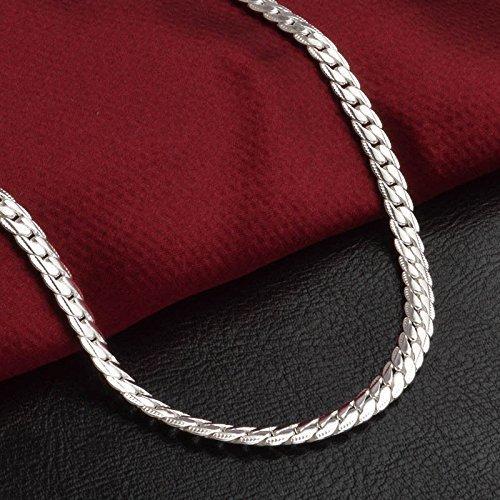 Solid 925 Silver Men's Women's Italian 5mm Cuban Curb Link Chain Bangle Bracelet(Silver) by SOSUO (Image #2)