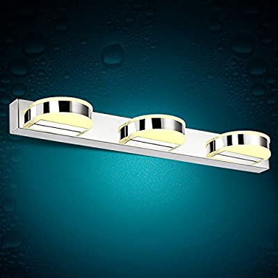 BL Modern retro Curved acrylic led mirror light rust-proof stainless steel modern minimalist bathroom toilet waterproof fog lamps 500*50*90mm, Bathroom Mirror Lamps (110-120V)