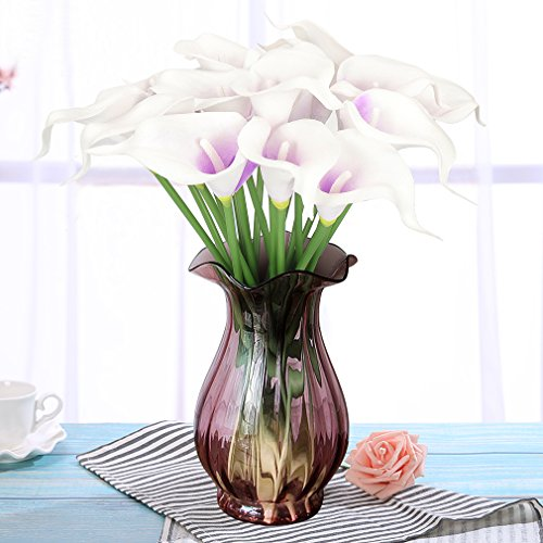 RERXN Artificial Calla Lily Real Touch PU Flowers Bouquet Latex Floral for Home Wedding Party Decoration. Pack of 20 (White with Purple Heart) (Wedding Lily Cake Calla)