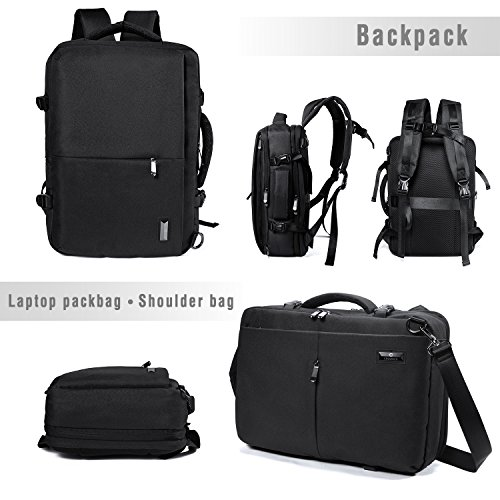 Crospack 35L Carry on Backpack Flight Approved Compression Travel Pack Cabin Bag Duffel Hiking Backpack Water-resistant Camping Backpack Large Capacity Laptop Backpac Black by Syntrific (Image #3)
