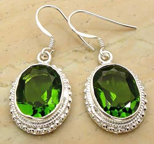 Genuine Gemstone 925 Sterling Silver Overlay Handmade Fashion Earrings Jewelry