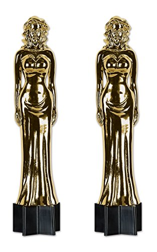 Beistle S54283AZ2, 2 Piece Jointed Awards Night Female Statuette Cutouts, ()