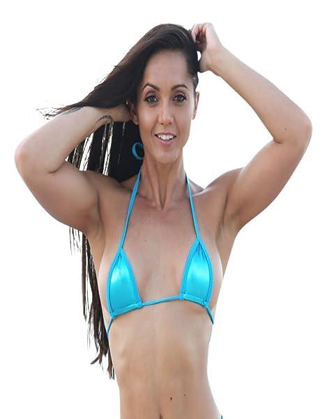 b85423245eb27 Amazon.com  Turquoise Metallic Sassy Mini Triangle Top Bikini Tops  Clothing