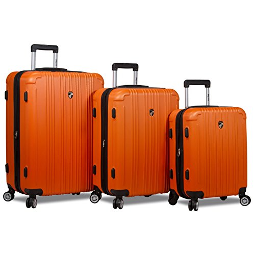 Dejuno Atlas 3-Piece Hardside Spinner Tsa Combination Lock Luggage Set, Orange by Dejuno