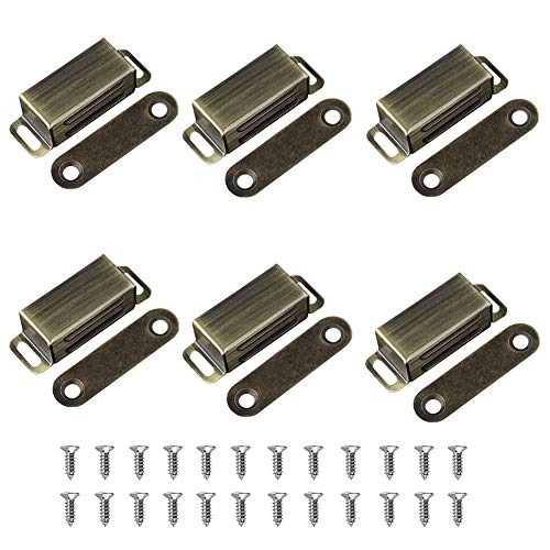 Cabinet Door Catch with Strong Magnetic, Bronze (Pack of 6)