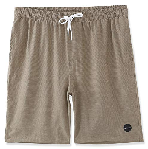 Boardshorts Khaki - HETHCODE Men's 4Way Stretch Elastic WB Swim Boardshort Submersible Casual Shorts Heather Khaki L