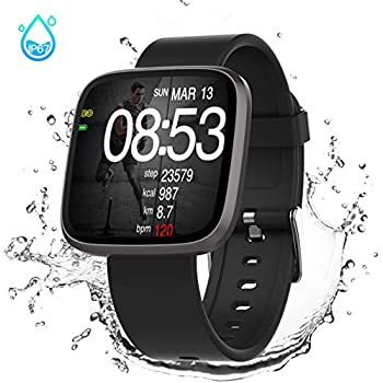 GOKOO Smart Watch for Men Women, Activity Tracker,IP68 Waterproof,Heart Rate Monitor Sleep Camera with Step Calorie Counter,Bluetooth Smartwatch Black